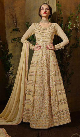 Cream Georgette Embroidered Anarkali
