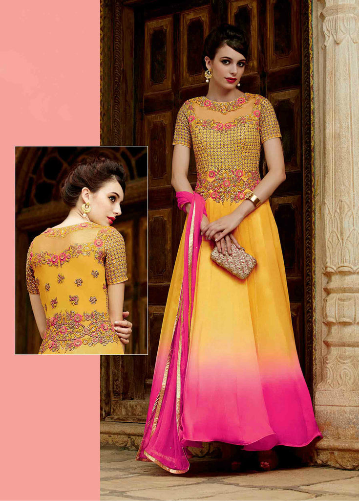 Yellow & Pink Chinon Chiffon Ombre Embroidered Anarkali