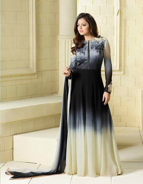 Black & Cream Ombre Georgette Embroidered Suit