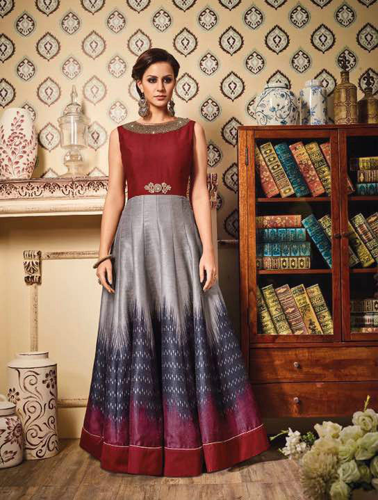 Maroon & Grey Ombre German Silk Embroidered Suit