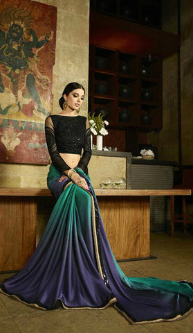 Green & Blue Satin Shaded Saree