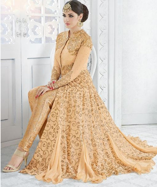 Golden Peach Georgette Embroidered Lehenga/Pant Suit