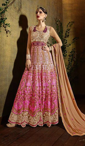 Beige & Pink Ombre Georgette Embroidered Anarkali