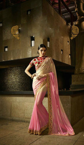 Pink & Cream Shimmer Georgette Shaded Saree
