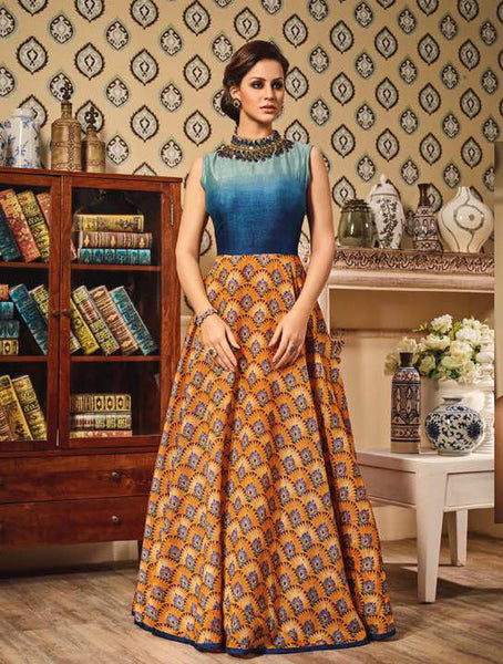 Blue Ombre & Yellow German Silk Embroidered Suit