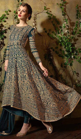 Teal & Gold Georgette Embroidered Anarkali