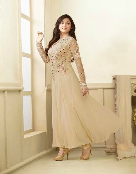 Beige Georgette/Chiffon Embroidered Suit