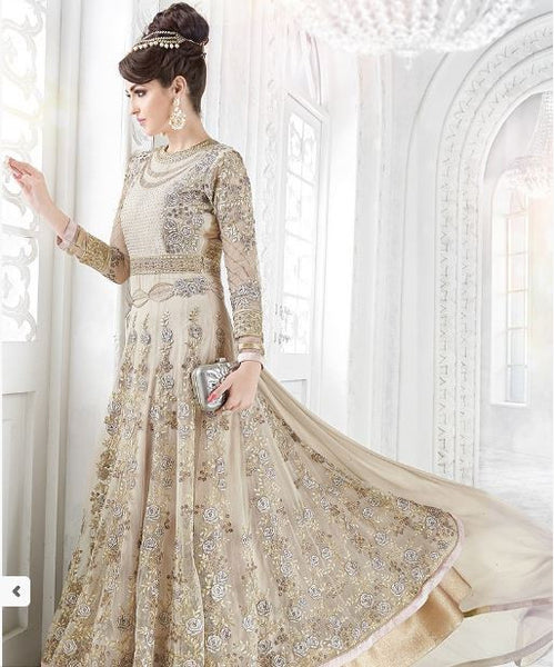 Golden Cream & Silver Net Embroidered Anarkali