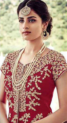 Maroon & Beige Faux Georgette/Net Embroidered Lehenga Suit