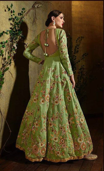 Pear Green Raw Silk Embroidered Anarkali