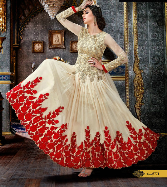 Cream & Red Heavy Embroidered Suit in Pure Georgette
