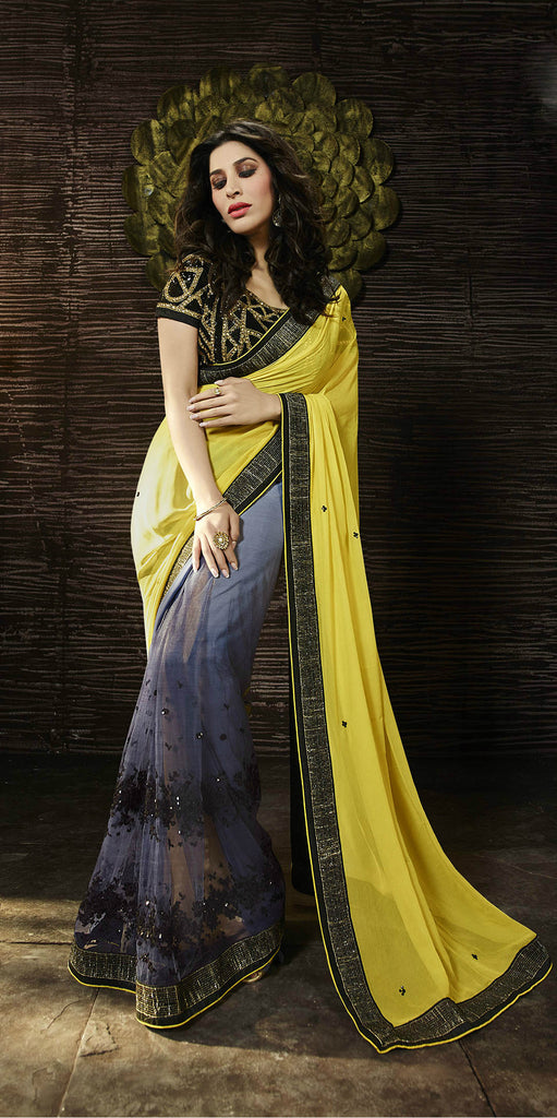 Yellow & Grey Georgette/Net Saree