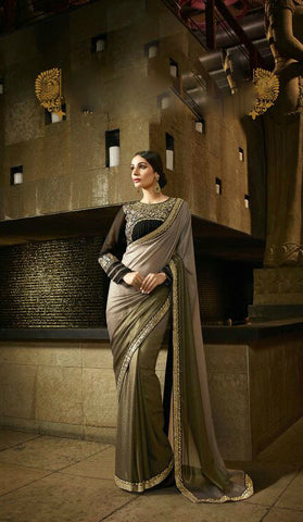 Rustic Green & Black Shimmer Georgette Shaded Saree