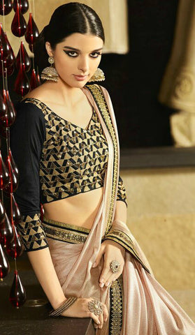Beige & Black Shimmer Georgette Shaded Saree