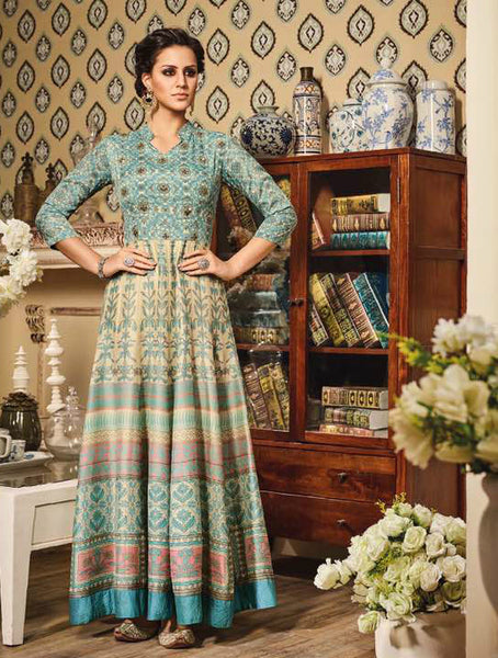 Turquoise & Cream Chandan Silk Embroidered Suit