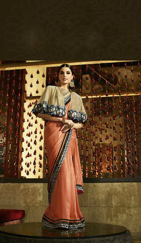Orange Shimmer Georgette Jaqaurd Saree With Beige Lycra Cape