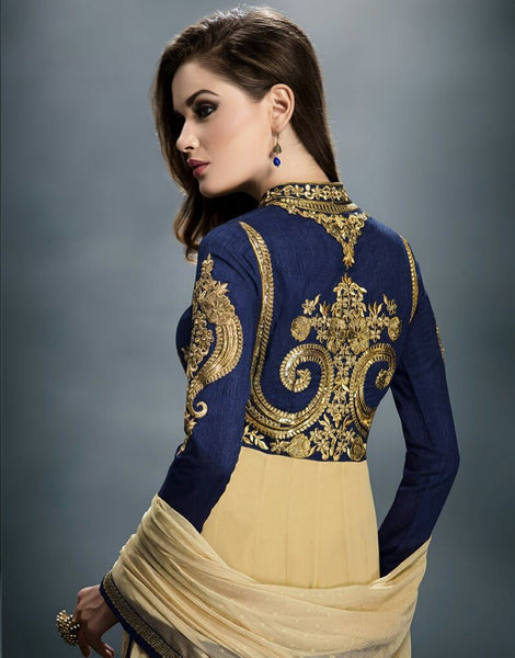 Cream & Navy Blue Designer Wear Anarkali Suit