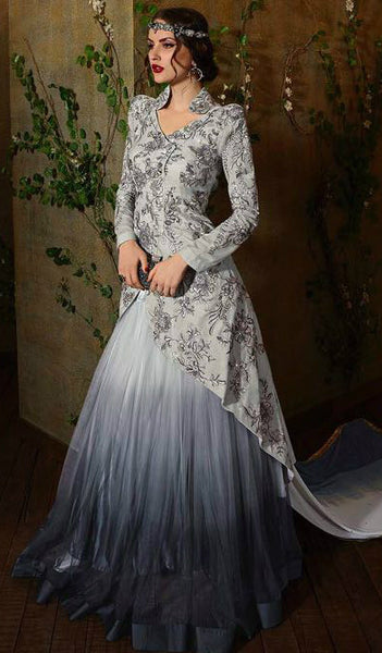 Grey Tissue Jaquard Top & Net Shaded Lehenga Suit