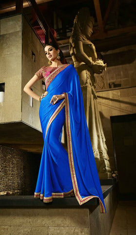 Blue & Pink Satin Saree