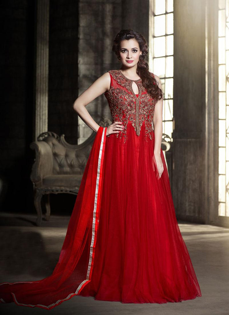 Dia Mirza Red Party Wear Anarkali Suit