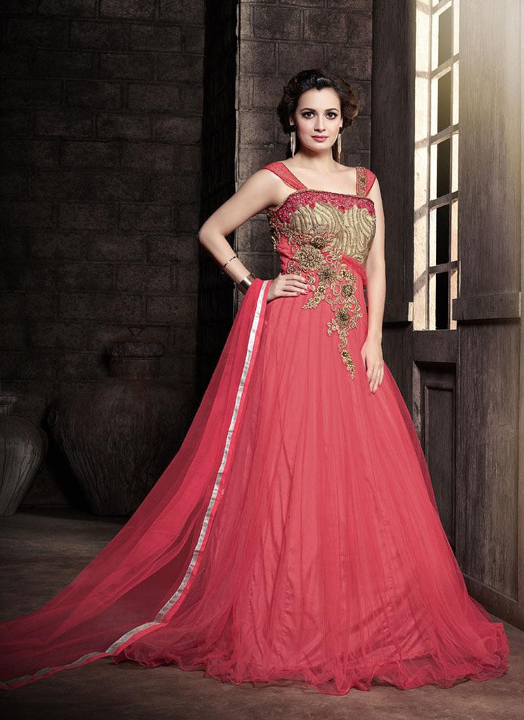 Dia Mirza Pink Party Wear Anarkali Suit