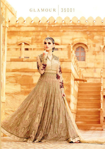 Beige & Maroon Net/Santoon Embroidered Suit