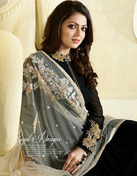 Black & White Georgette/Net Embroidered Suit