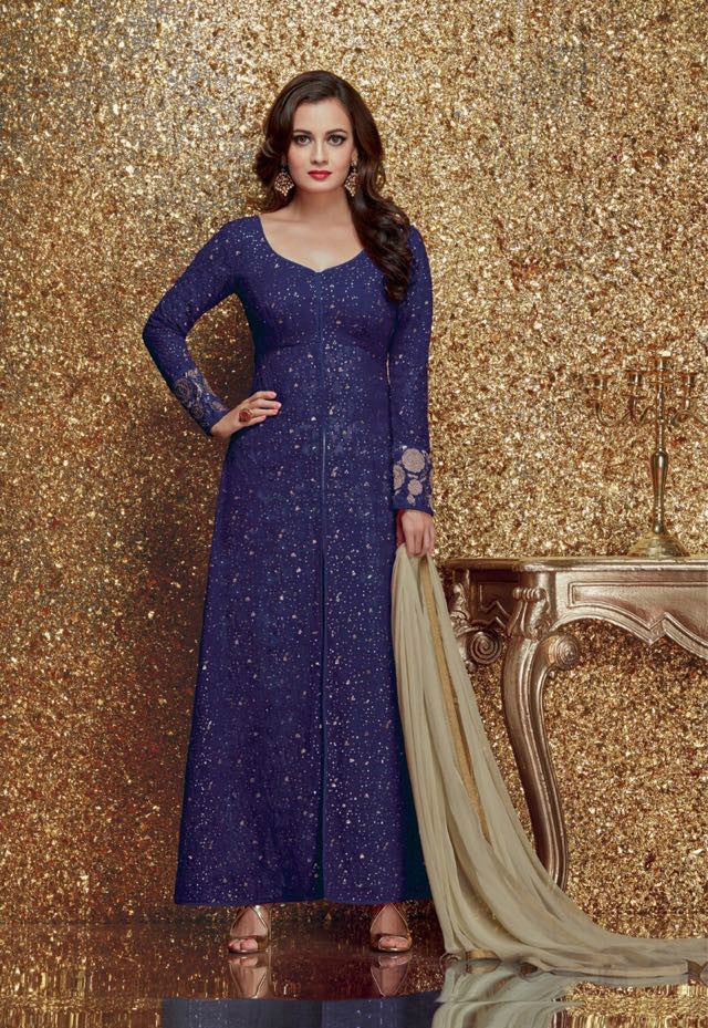 Dia Mirza Purple Georgette/Net Embroidered Suit