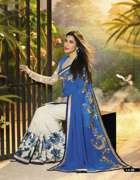 White & Blue Georgette Embroidered Saree