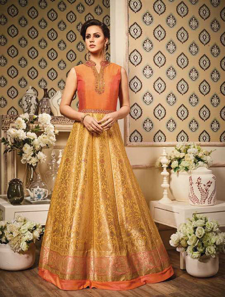 Orange & Yellow Pure Banarasi Silk Embroidered Suit