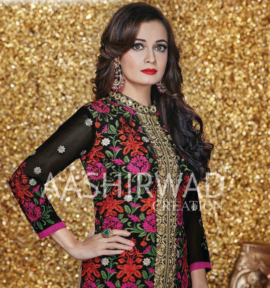 Dia Mirza Multicolor Georgette Straight-Cut Salwar Kameez
