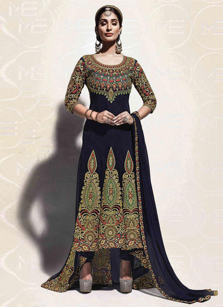 Navy Blue Georgette Embroidered Hi-Low Suit