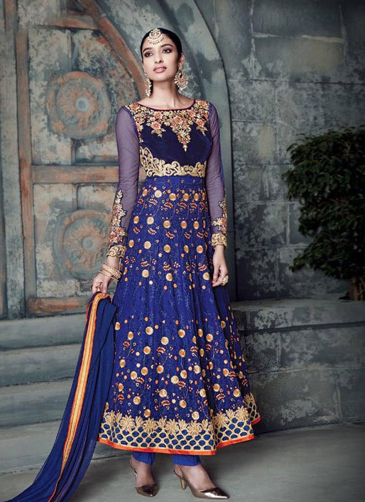 Royal Blue Pure Georgette Embroidered Anarkali