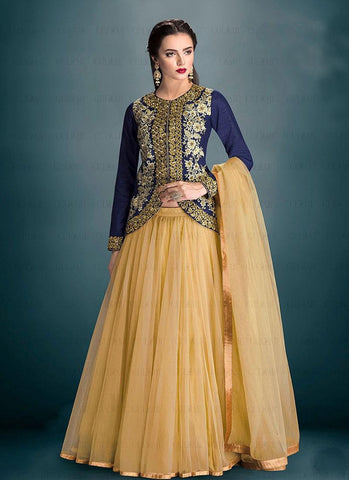 Blue & Cream Banglori Silk Lehenga Suit