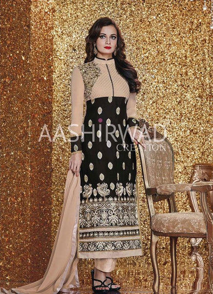 Dia Mirza Black & Cream Georgette Straight-Cut Salwar Kameez