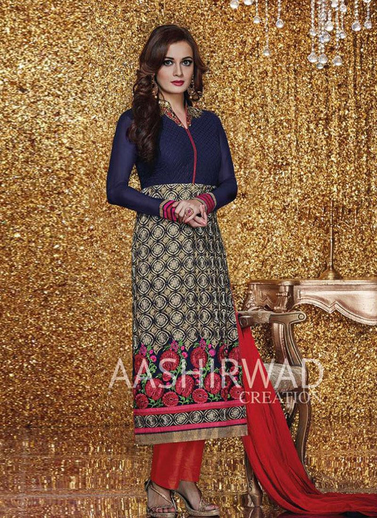 Dia Mirza Blue & Red Georgette Straight-Cut Salwar Kameez
