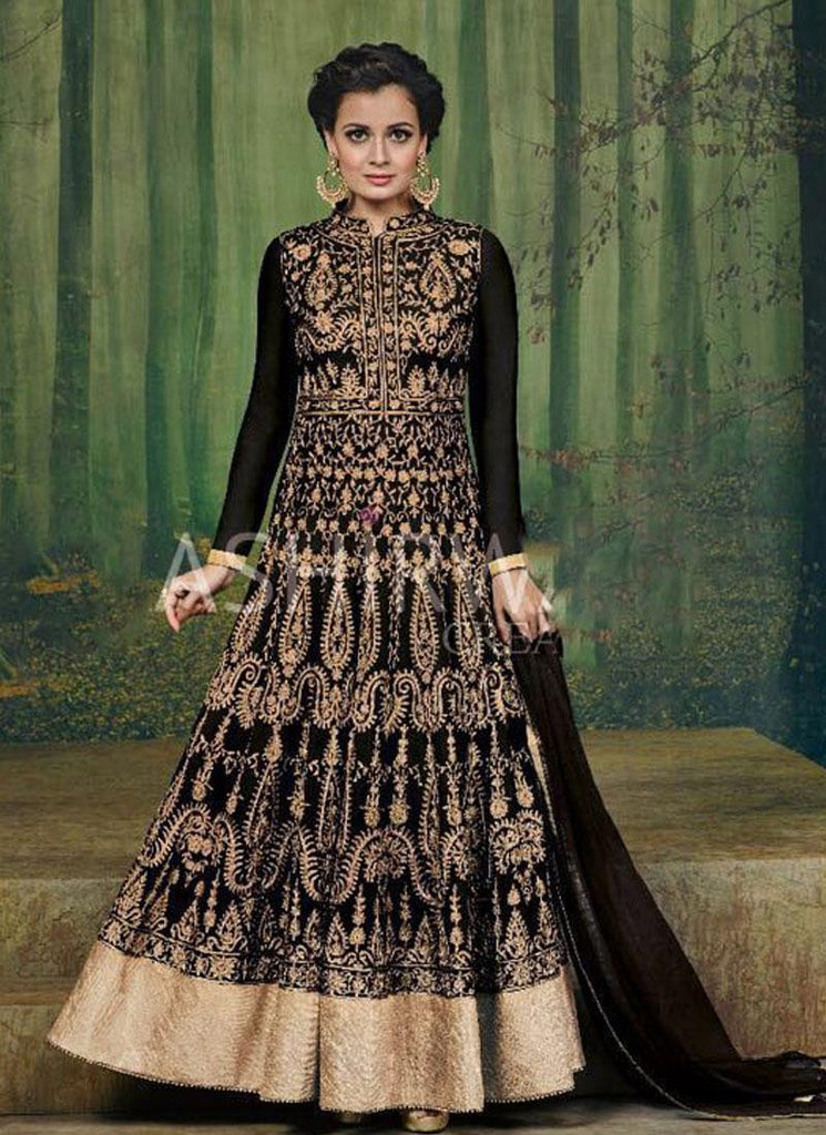 Dia Mirza Black & Gold Georgette Anarkali