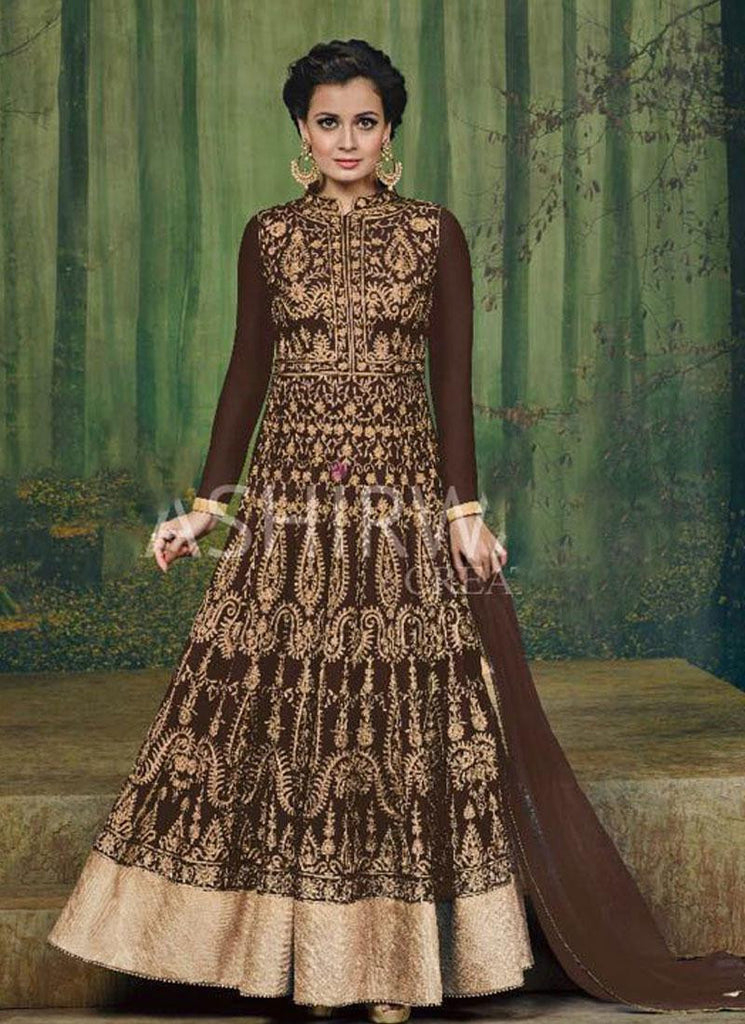 Dia Mirza Brown & Gold Georgette Anarkali