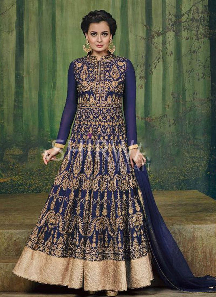 Dia Mirza Purple & Gold Georgette Anarkali