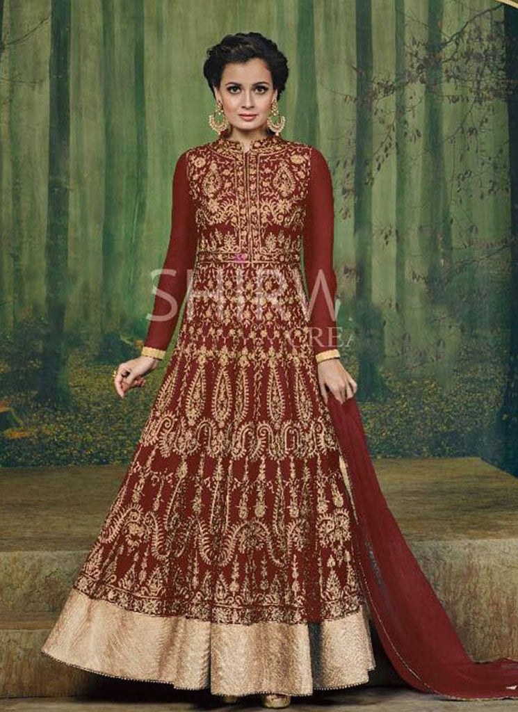 Dia Mirza Red & Gold Georgette Anarkali