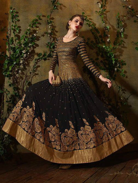 Black & Gold Georgette Embroidered Anarkali