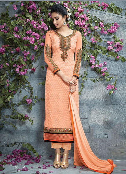 Peach Georgette Embroidered Straight-Cut Suit