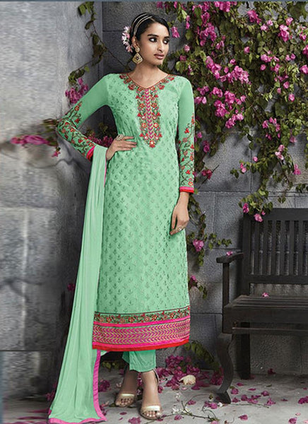Green Georgette Embroidered Straight-Cut Suit