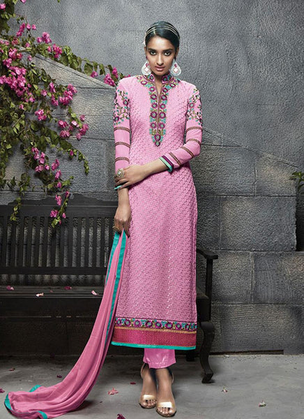 Pink Georgette Embroidered Straight-Cut Suit
