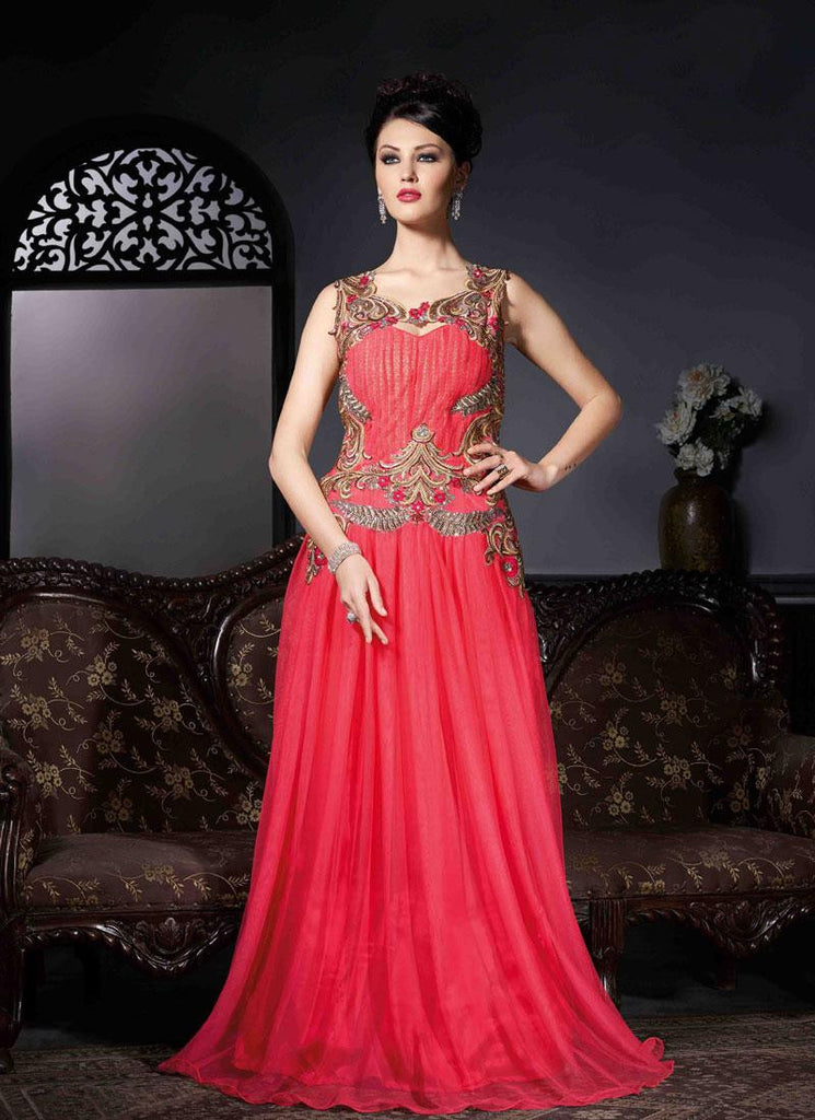 Red Georgette/Net Handwork Gown