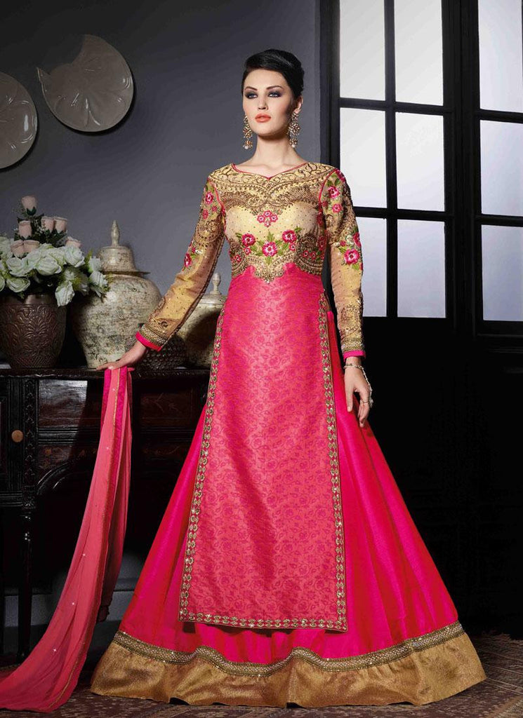 Pink Georgette/Net Handwork Gown