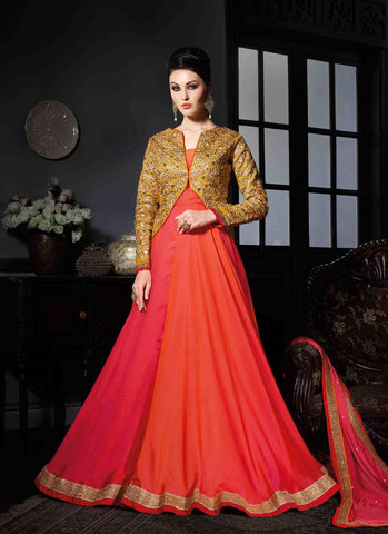 Orange Ombre Georgette/Net Handwork Gown