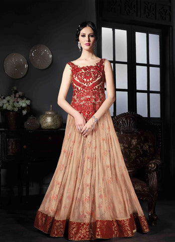 Beige & Red Georgette/Net Handwork Gown