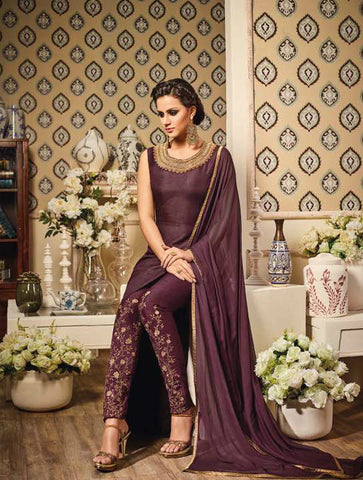 Brown Thapa Silk Embroidered Pant-style Suit