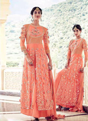 Peach Heavy Nylon Net/Net Embroidered Lehenga Suit